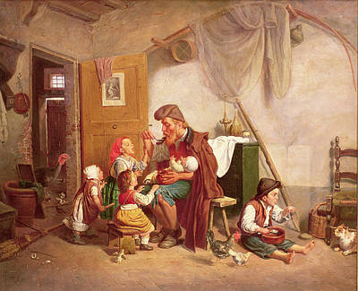 The Widowed Family, 19th Century Poster by Giuseppe Mazzolini