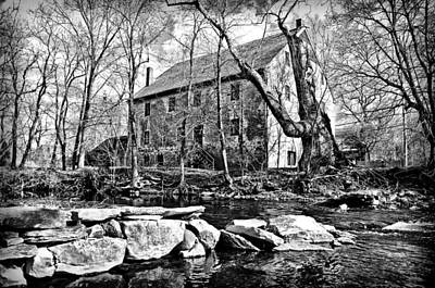 The Wissahickon Creek And Mather Mill In Black And White Poster by Bill Cannon