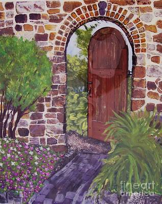 Poster featuring the painting The Wooden Door by Lucia Grilletto