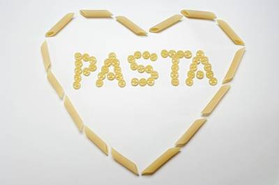 The Word 'pasta' (wagon Wheel Pasta) In A Heart (penne) Poster