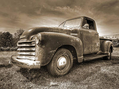 The Workhorse In Sepia - 1953 Chevy Truck Poster by Gill Billington