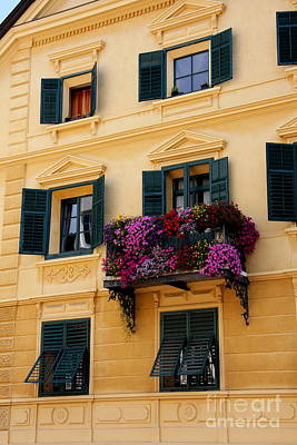 The Yellow Facade And Green Windows Poster by Christiane Schulze Art And Photography