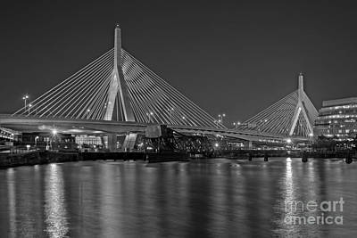 The Zakim Bridge Bw Poster by Susan Candelario