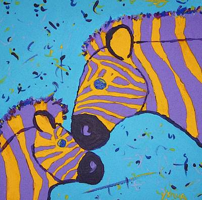 Poster featuring the painting The Zebra Nuzzle by Yshua The Painter