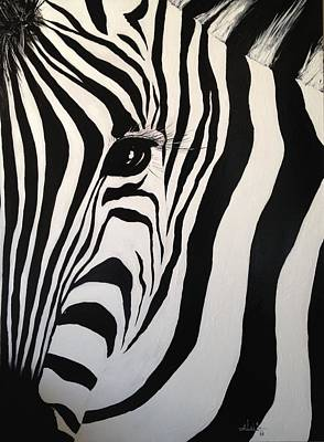 Poster featuring the painting The Zebra With One Eye by Alan Lakin