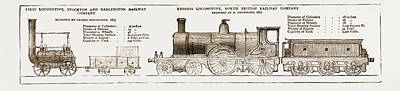 Then And And Now The Earliest And Latest Locomotive Engines Poster by Litz Collection
