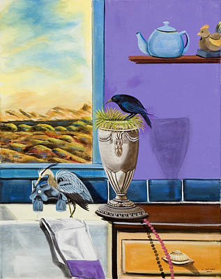 Poster featuring the painting There Are Birds In The Kitchen Sink by Susan Culver