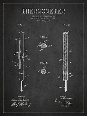 Thermometer Patent From 1898 - Dark Poster by Aged Pixel