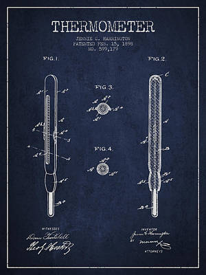 Thermometer Patent From 1898 - Navy Blue Poster by Aged Pixel
