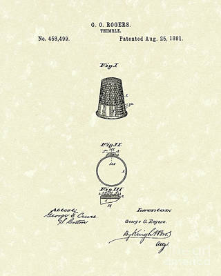 Thimble 1891 Patent Art Poster by Prior Art Design