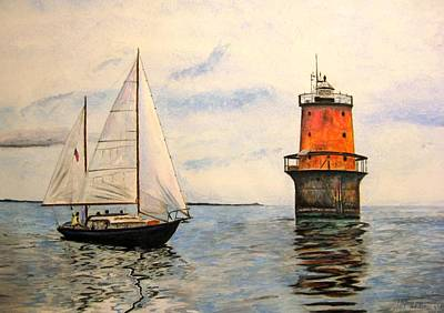 Poster featuring the painting Thimble Shoals Light by Stan Tenney