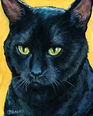 Thinking Black Cat Poster