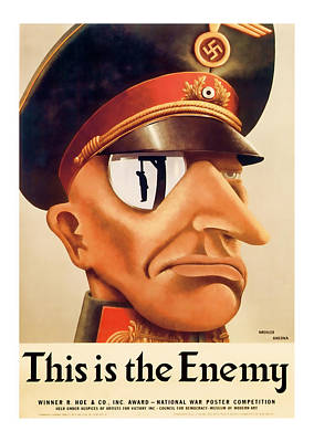 This Is The Enemy  Vintage Ww2 Art Poster by Presented By American Classic Art