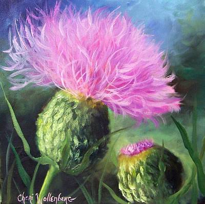 Poster featuring the painting Thistle by Cheri Wollenberg