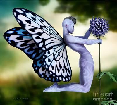 Poster featuring the digital art Thistle Fairy by Sandra Bauser Digital Art