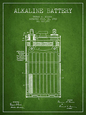 Thomas Edison Alkaline Battery From 1906 - Green Poster by Aged Pixel