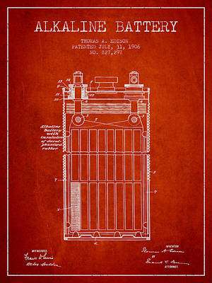 Thomas Edison Alkaline Battery From 1906 - Red Poster by Aged Pixel