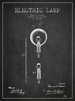 Thomas Edison Electric Lamp Patent From 1880 - Dark Poster