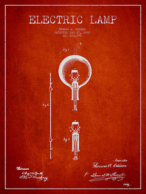 Thomas Edison Electric Lamp Patent From 1880 - Red Poster by Aged Pixel