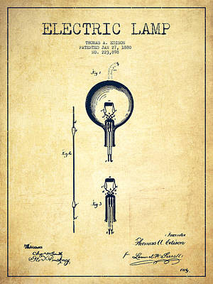 Thomas Edison Electric Lamp Patent From 1880 - Vintage Poster