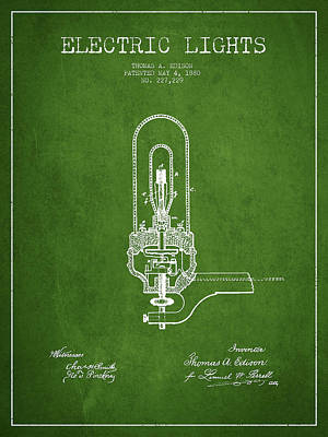 Thomas Edison Electric Lights Patent From 1880 - Green Poster