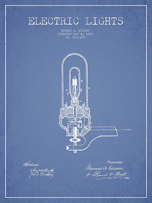 Thomas Edison Electric Lights Patent From 1880 - Light Blue Poster by Aged Pixel