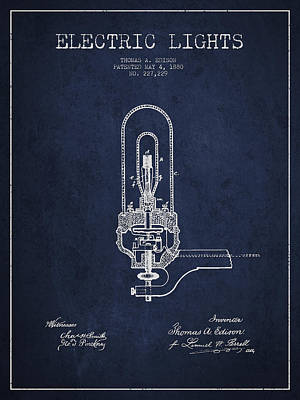Thomas Edison Electric Lights Patent From 1880 - Navy Blue Poster by Aged Pixel
