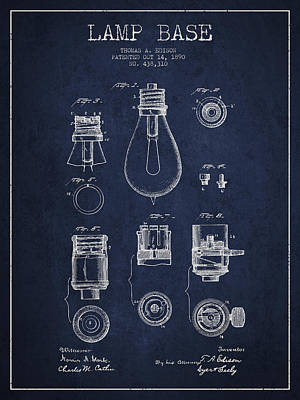 Thomas Edison Lamp Base Patent From 1890 - Blue Poster by Aged Pixel