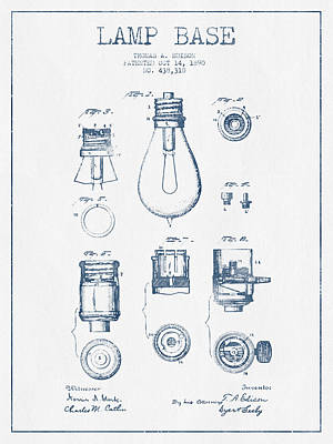 Thomas Edison Lamp Base Patent From 1890 - Blue Ink Poster by Aged Pixel