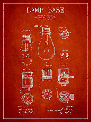 Thomas Edison Lamp Base Patent From 1890 - Red Poster by Aged Pixel