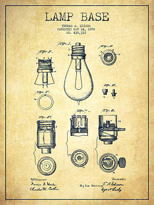 Thomas Edison Lamp Base Patent From 1890 - Vintage Poster