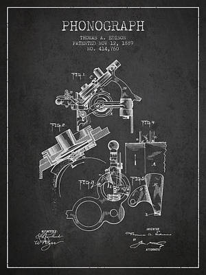 Thomas Edison Phonograph Patent From 1889 - Charcoal Poster