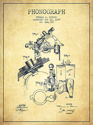 Thomas Edison Phonograph Patent From 1889 - Vintage Poster