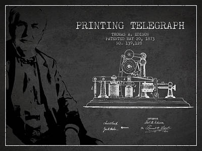 Thomas Edison Printing Telegraph Patent Drawing From 1873 - Dark Poster