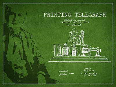 Thomas Edison Printing Telegraph Patent Drawing From 1873 - Gree Poster