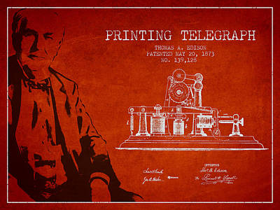 Thomas Edison Printing Telegraph Patent Drawing From 1873 - Red Poster