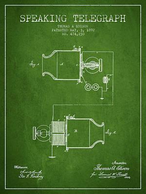 Thomas Edison Speaking Telegraph Patent From 1892 - Green Poster