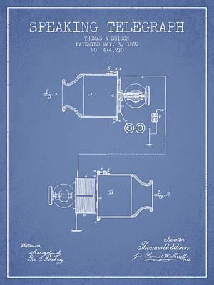 Thomas Edison Speaking Telegraph Patent From 1892 - Light Blue Poster
