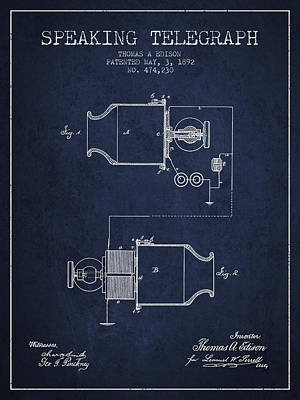 Thomas Edison Speaking Telegraph Patent From 1892 - Navy Blue Poster