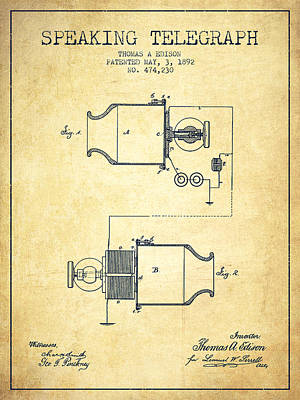 Thomas Edison Speaking Telegraph Patent From 1892 - Vintage Poster