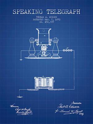 Thomas Edison Speaking Telegraph Patent From 1893 - Blueprint Poster