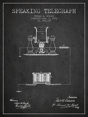 Thomas Edison Speaking Telegraph Patent From 1893 - Charcoal Poster