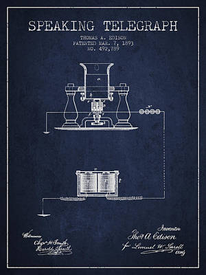 Thomas Edison Speaking Telegraph Patent From 1893 - Navy Blue Poster