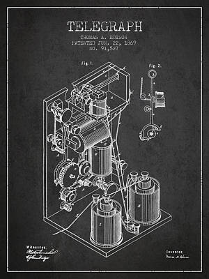 Thomas Edison Telegraph Patent From 1869 - Charcoal Poster