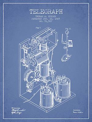 Thomas Edison Telegraph Patent From 1869 - Light Blue Poster