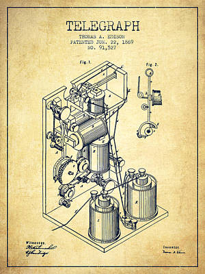 Thomas Edison Telegraph Patent From 1869 - Vintage Poster