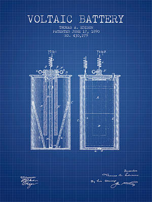 Thomas Edison Voltaic Battery Patent From 1890 - Blueprint Poster by Aged Pixel