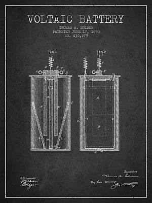 Thomas Edison Voltaic Battery Patent From 1890 - Charcoal Poster