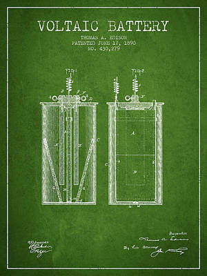 Thomas Edison Voltaic Battery Patent From 1890 - Green Poster by Aged Pixel
