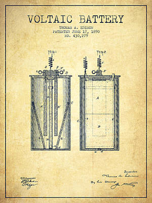 Thomas Edison Voltaic Battery Patent From 1890 - Vintage Poster by Aged Pixel